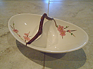 Metlox Peach Blossoms Divided Serving Bowl Repaired
