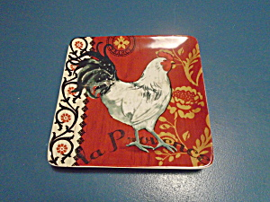 Cic La Provence Sqaure Rooster Salad Plate Style 2 New