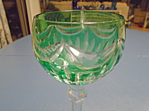 Green Cut To Clear Crystal Wine Hock Goblets Unsigned Swag Design