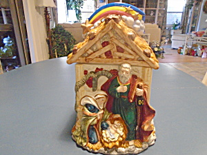 Jesus Manger Scene Cookie Jar Ceramic