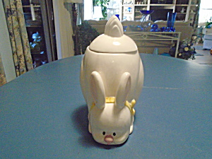 Tii Food Safe White Ceramic Rabbit Cookie Jar