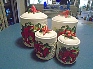 KMC Red Chili Canisters on White Basket Weave Back Set of 4 (Image1)