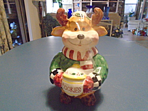 Moose Ceramic Cookie Jar Wearing Green Sweater