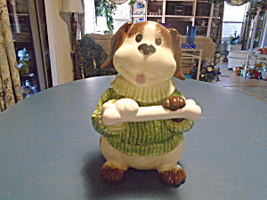 Dog Holding Bone Cookie Jar or Dog Treat Jar (Image1)