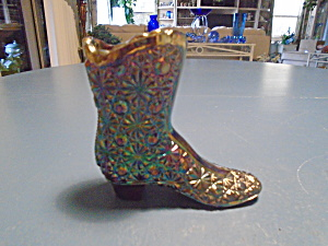 Fenton Vintage Carnival Glass 4 in. Boot Signed (Image1)