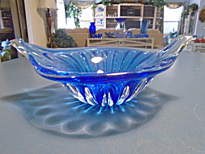 Ussr Clear/cobalt Wing Bowl Hand Blown 24% Lead Crystal
