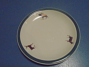 Tienshan Hand Decorated By Geoff Hager Salad Plates Deer, Elk, Etc.