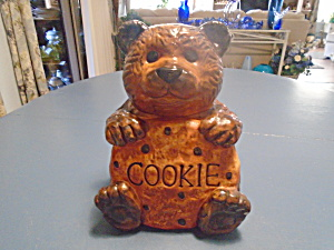 Ckp Dark Brown Bear Cookie Jar Ceramic