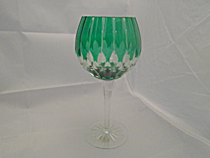 Ajka Arabella/alva Green Cut Glass 24% Crystal Wine Goblet Signed