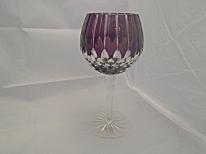 Ajka Arabella/alva Purple Cut Glass 24% Crystal Wine Goblet Signed