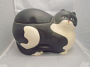 Sakura Black Cat Cookie Jar
