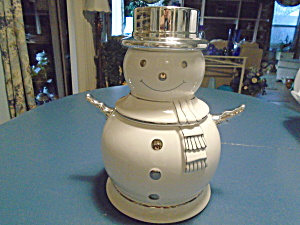 White And Silver Snowman Cookie Jar