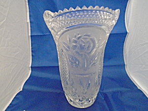 Pressed Glass Rose Design, Waffle, Sawtooth Tall Vase