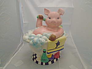 Piggy Taking A Bath In Tub Ceramic Cookie Jar