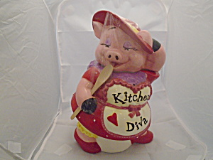 Kitchen Diva Ceramic Cookie Jar Absolutely Adorable Pig