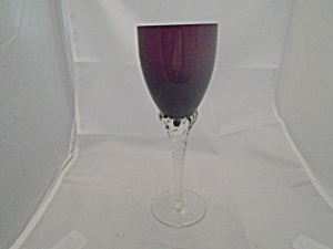 Unknown Maker Purple Wine Glasses Hand Blown Clear Stem