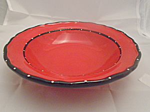 Casa Vera Red, Black, White Raised Dots Soup Bowls Cute