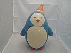 Holiday Be Merry Blue Penguin Cookie Jar
