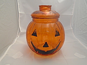 Halloween Clear Glass Jackolantern Pumpkin Treat/cookie Jar