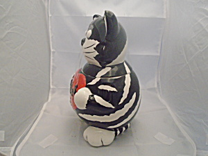Fib Black And White Cat Love Heart Ceramic Cookie Jar