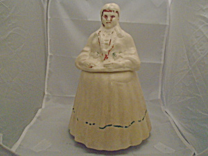 Vintage American Bisque? Lady Stoneware Cookie Jar