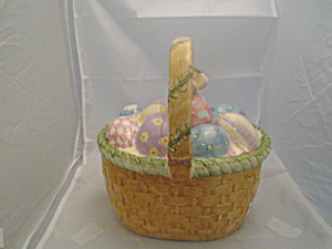 Sakura Debbie Mumm Easter Basket Ceramic Cookie/candy Jar