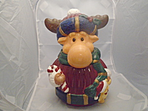 Christmas Moose Ceramic Cookie Jar