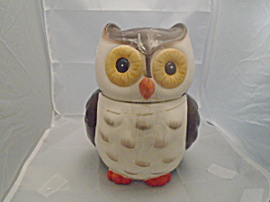 Brown And White Owl Cookie Jar Ceramic