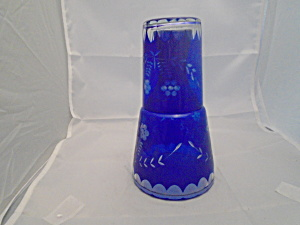 Cobalt Cut Glass Decanter/carafe And Glass Vintage Bohemian