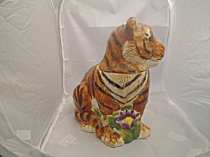 Sakura Tiger Ceramic Cookie Jar