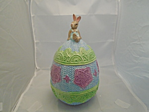 Easter Egg W/rabbit Finial Ceramic Colorful