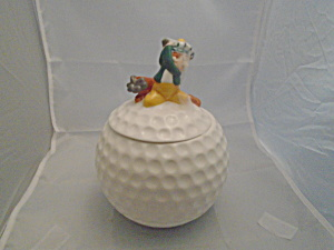 Golf Ball Cookie Jar W/golfer On Top Ceramic
