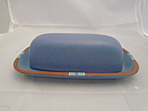 Dansk Mesa Blue Covered Butter Dish Made In Portugal