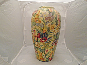 Bright Floral Vase Yellow, Orange, Reds, Greens Nice