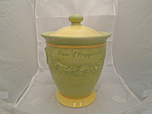 Pfaltzgraff Pistoulet Flour Is Happiness Canister Mint