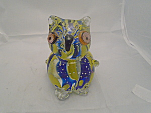 Art Glass Mid Century Hand Blown Owl Small And Cute