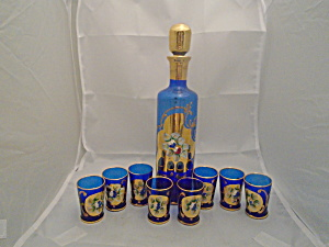 Ocagco Cobalt Decanter W/stopper And 8 Small Cordial Glasses Mint