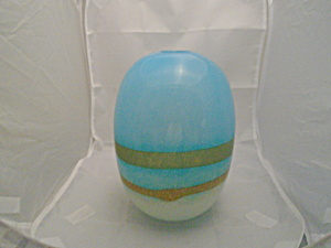 Art Glass Mid Century Aqua Stripe Vase Blown Glass Germany