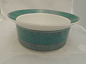 Dansk Gridworks Green Rimmed Serving Bowl(S) Made In Portugal.