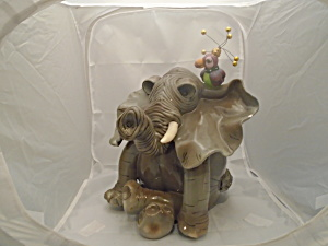 As Is Swak Collectibles Prehistoric Elephant Cookie Jar Signed