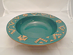 Frankoma Native American Forest Green Rimmed Soup Bowls
