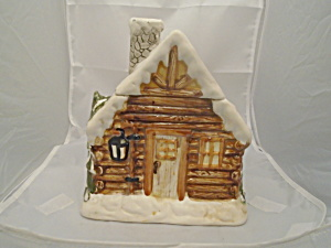 Log Cabin Cookie Jar Christmas Trees And Snow Too. Cute.