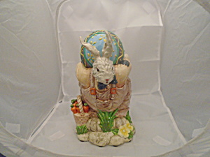 Rabbit Cookie Jar Ceramic W/large Egg For The Cover