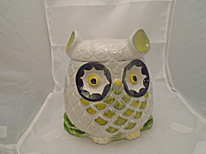 Owl Cookie Jar Ceramic Made In Italy