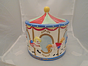 Merry Go Round Cookie Jar Ceramic