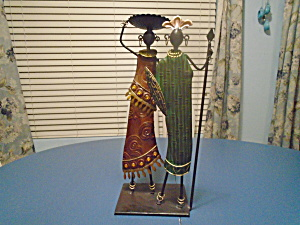 Man And Woman African Metal Candle Holder 19.5 In. High