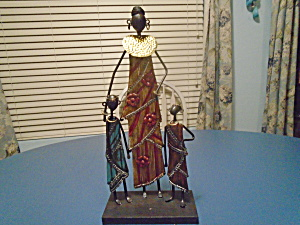 1 Mom And 2 Kids African Metal Sculpture 17.5 In. High