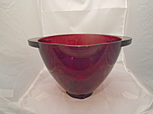 Unmarked Ruby Red 4 Qt. Pour Spout And Double Handles Mixing Bowl