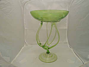 Art Glass Mid Century Hand Blown Green Bowl W/tube-like Stems