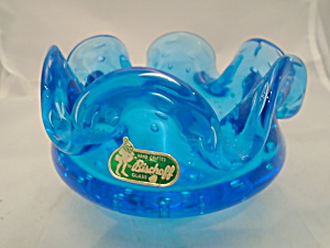 Bischoff Blue Art Glass Bowl W/bubbles Signed